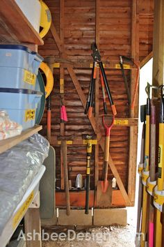 Ashbee Design: For things that can't fit into PVC pipe, hang on hooks.