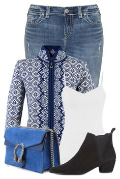 """""""Untitled #18196"""" by nanette-253 ❤ liked on Polyvore featuring Silver Jeans Co., Dale of Norway, maurices, Gucci and Warehouse"""