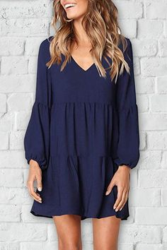 Details: Material: Polyester Style: Daily Sleeve Style: Cap Sleeve Sleeve Length: Long Sleeve Neckline: V Neck Dresses Length: Mini Silhouette:...