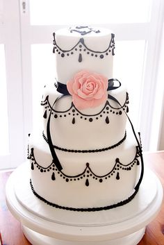 Black and White Tiered Cake:: retro wedding:: black and white wedding cake