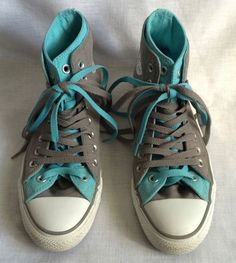 Blue & Gray Converse Hi Tops Double Uppers Mens 8 Womens 10 Chuck Taylor #Converse #Athletic