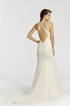 Style * AV7504 *  Bridal Gowns, Wedding Dresses  Ti Adora Spring 2015 Collection  by Alvina Valenta  Shown Ivory lace over champagne Charmeuse trumpet bridal gown with a side front slit. Sweetheart neckline with spaghetti straps and low open back (back)