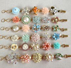 6 Pastel OOAK Bridesmaid bracelet, repurposed vintage earring bracelet, rustic, bridesmaid gift, jewelry set, rhinestone, pearl, pink, peach