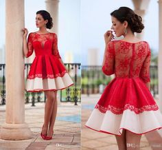 2016 New Red Long Sleeves Short Cocktail Dresses Arabic Style Sheer Crew Neck Zipper Ball Gown Short Evening Party Gowns Ball Dresses Online Black And White Cocktail Dress From Hot Wind, $136.03| Dhgate.Com