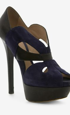 Fendi Black And Navy Peeptoe
