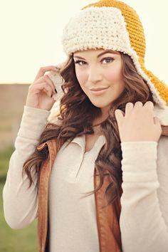 Bomber Ear Flap Hat, lumberjack hat, pilot hat, womens hat, yellow, white, beanie, teen, adult, spring, winter by Shanionie on Etsy https://www.etsy.com/listing/58674073/bomber-ear-flap-hat-lumberjack-hat-pilot