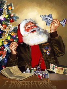 Merry Christmas & Happy New Year !!! (Santa, model airplane, painting, tree, decorating)