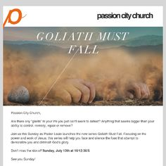 New summer series starting Sunday, Goliath Must Fall Passion City Church
