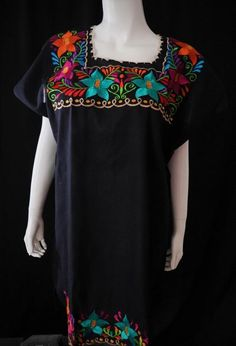 Embroidery On Kurtis, Embroidery Neck Designs, Traditional Mexican Shirts, Mexican Fiesta Dresses, Mexican Embroidered Dress, Embroidery Materials, Handmade Dresses, Tie Dress, Clothing Items
