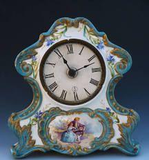 Antique Victorian Portrait French Porcelain Mantle Clock