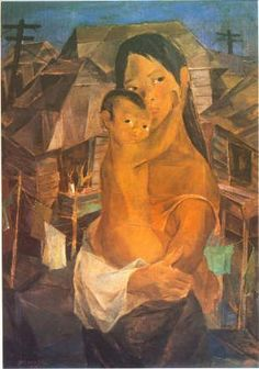 Vicente Silva Manansala (22Jan1910 Macabebe, Pampanga, Philippines-22Aug1981 Manila, Philippines) Cubism. | Madonna of the Slums, 1950, painting on masonite, 86.5×61cm. It is considered a key modernist painting of the 1950s. National Museum Collection, Philippines.