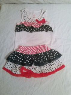 Patriotic girl skirt set 12 mos red white blue and stars