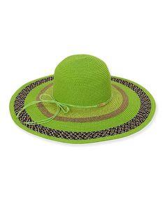 Another great find on #zulily! Green Paper Braid Wide-Brim Hat by Sun 'N' Sand #zulilyfinds