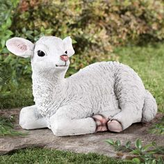 "[{""textkey"":1,""title"":""Description"",""text"":""Gracing your lawn or garden with classic charm, our resin lamb statue is inspired by nature ... and sure to inspire smiles each time you admire him. Skilled artisans crafted the exclusive garden statue with realistic detail all around in weatherproof resin—hand painting his white ""wool"", perky ears, pink nose and little lamb hooves. Light enough to easily move, yet extremely durable, he'll be ""sitting pre..."