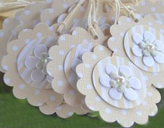 Ivory Polka Dot Scallop Gift Tags layered with Ivory Shimmer