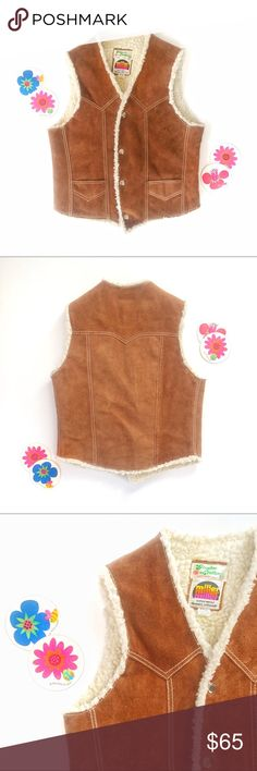 🌈True vintage 70s suede Faux Shearling Vest! The cutest! True vintage suede leather vest in immaculate condition. Classic 70's vintage western design with snap closure, two front pockets & beautiful back stitching. Lined with fluffy faux shearling! Made by retro (and sadly no more) Miller Outerwear in Denver, Colorado. That rainbow tag? Swoon. A truly fantastic piece. Hard to part with this one :) No size listed; works best on an XS/S. Offers welcome! 🌈🌵🌈   Tags: 60s 60's ski mountain…
