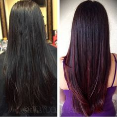Red sweeping - Hairstyles For All Red Balayage Hair, Red Ombre Hair, Hair Color Auburn, Burgundy Hair, Hair Color For Black Hair, Hair Highlights, Pelo Color Vino, Cherry Hair, Wine Hair