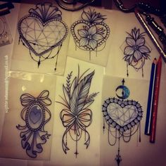 Custom Tattoo Artist at Ember. Tattoo Plume, Jewel Tattoo, Lace Tattoo, Sternum Tattoo, Girly Tattoos, Leg Tattoos, Body Art Tattoos, Tattoo Sketches, Tattoo Drawings