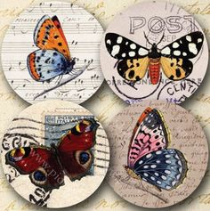Two of the most popular piddix designs: 20 butterflies on vintage postcards and 20 sideways butterflies on 1700s parchment, all in one 8.5x11-inch page. #printables 802