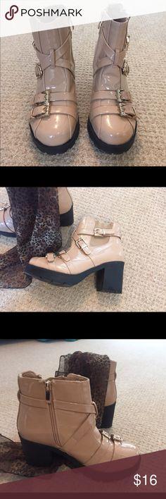Boots Modern, shiny vinyl tan boots, fashion-forward design, 3' inch heel, barwly worn! European size 38. Shoes Combat & Moto Boots