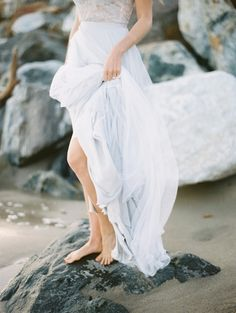 Ethereal Pale Blue Ocean Inspired Bridal Session