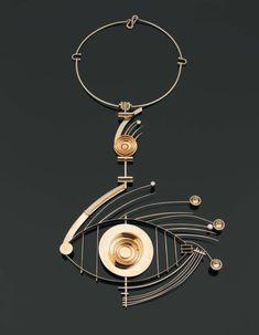 Necklace | Alberto Giorgi.  'Acquario'.  White and yellow gold, and yellow diamonds.  ca. 1972