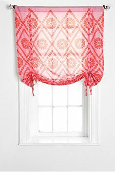 Plum & Bow Two-Tone Eyelet Draped Shade Curtain.  Love this look and can add some color to otherwise white space.  For all large windows in addition to the white curtains.