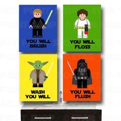 Star Wars Bathroom Wall Art - Jedi Mind Trick - Bathroom Rules -Kid's Wall Art 4 - Prints - Star Wars Set - Star Wars Kids Room on Etsy, hilarious Lego Bathroom, Star Wars Bathroom, Bathroom Wall Art, Bathroom Kids, Kids Bath, Bathroom Rules, Lego Star Wars, Star Wars Set, Star Wars Kids