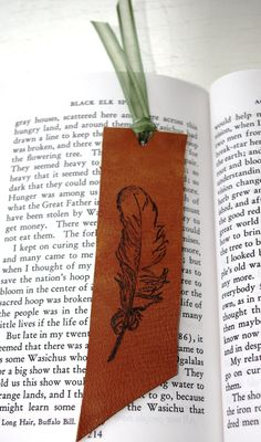 Leather Bookmark Save Your Page Native American Feather Golden Brown. <3!