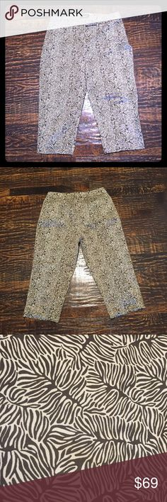 """Kenneth Cole Unlisted Leaf Patterned Capris Excellent condition. Worn once. Matches the Nine West tank that is also available in my closet. Darts in back for a more flattering fit. 97% Cotton, 3% Spandex so the perfect amount of stretch.   Approximate Measurements (unstretched):  Waist - 35"""" Lower hips- 43"""" Rise - 10"""" Inseam - 21"""" Unlisted Pants Capris"""