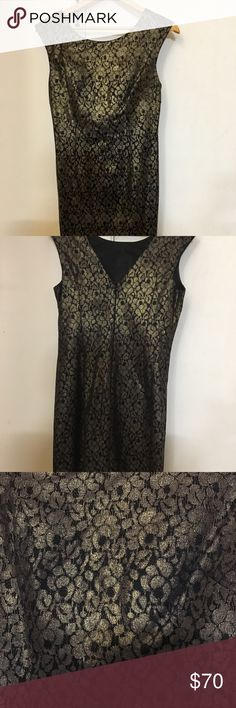 """SLEEVELESS LACE SHEATH COCKTAIL DRESS Brand new condition Beautiful bronze & black dress. The crocheted lace gives this sheath dress a noteworthy look. The face-framing neckline and gray shimmer add for tasteful touches—easily styled from day to night with a simple change of accessories. Sleeveless lace sheath dress in pewter Hits 1/2"""" above the knee V neck back with Zipper Full knit lining Regular: Approx. 40"""" from shoulder Cotton/nylon. Hand wash cold.  Perfect for a cocktail/ a night out…"""