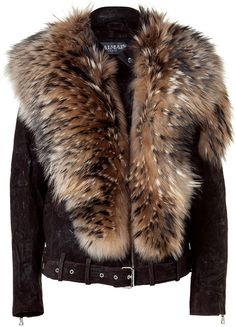 BALMAIN   Brown Leather Biker Jacket with Fur Collar