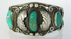 Vintage Old Pawn Navajo Green Turquoise Bracelet 1960s Sterling Silver Cuff s6.5