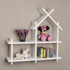 Add a magical touch of playfulness to your child's room with this sweet house wall shelf in contemporary white finish that easily blends with any room decor. This house shelf will provide a fun way to