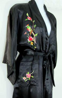 Silver Lake Small Black Wrap Style Robe Floral Bird Embroidery Long Kimono Satin #SilverLake #Robes