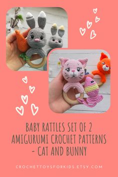 2 in 1 PATTERNS Amigurumi Crochet CAT and BUNNY Rattles 2 PDF files for download You can buy crochet patterns separately in my shop