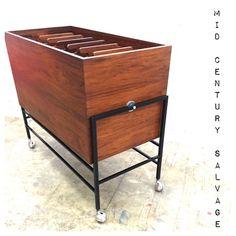 Rosewood Tilting Filing Cabinet on Casters $750 704-635-8744 www.midcenturysalvage.com #midcenturymodern #mcm #midcenturysalvage