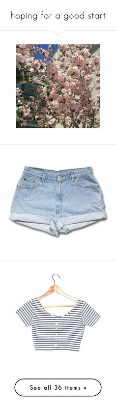 """hoping for a good start"" by babe-blue ❤ liked on Polyvore featuring pictures, flowers, photos, shorts, bottoms, pants, short, black, women's clothing and vintage short shorts"