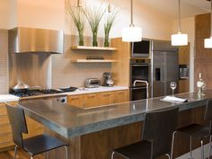Contemporary Kitchen with Flush, Brooks Custom Engineered Concrete Countertops…