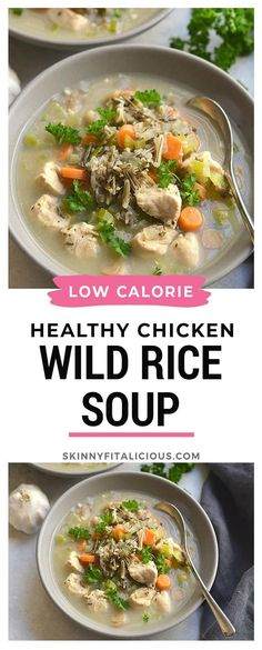 Healthy Chicken Wild Rice Soup is a low calorie and gluten free recipe! #healthy #chicken #wildrice #soup #lowcalorie #wild #rice #glutenfree Healthy Low Calorie Meals, Healthy Eating, Clean Eating, Healthy Weight, Healthy Soup, Healthy Chicken, Healthy Detox, Chicken Wild Rice Soup, Rice Recipes For Dinner