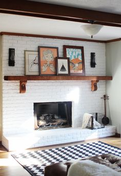 white-painted brick fireplace. love. | maiedaie. Read More at: homeavdecor.blogspot.com