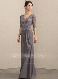 A-Line V-neck Floor-Length Chiffon Lace Mother of the Bride Dress With Beading Sequins Cascading Ruffles - DressFirst Wedding Party Dresses, Bridesmaid Dresses, Prom Dresses, Bride Dresses, Special Occasion Dresses, Mother Of The Bride, Fashion Dresses, Women's Fashion, Ruffles