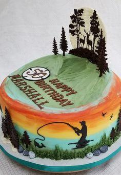 Hunting, fishing and ice fishing birthday cake Hunting Birthday Cakes, Fish Cake Birthday, Birthday Cakes For Men, Cakes For Boys, Man Birthday, Hunting Cakes, Birthday Ideas, Birthday Quotes, Ice Fishing