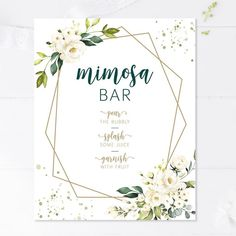 What bridal shower is complete without mimosas? This cute mimosa bar sign will dress up the drink area in no time. Simply print this out and put it into a frame to dress up the gifts table! Bridal Shower Signs, Bridal Shower Games, Bridal Shower Decorations, Bridal Shower Invitations, Wedding Stationery, Wedding Hashtag Sign, Wedding Signs, Wedding Decor, Wedding Ideas