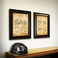 "2 pc Framed Modern Patent Set - Harley Motorcycle Bikers 12""x15"" each Personal Prints http://www.amazon.com/dp/B00XCXWZ3C/ref=cm_sw_r_pi_dp_SpcJvb07PHFTP"