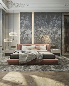 Beautiful Bedroom Designs, Beautiful Bedrooms, Home Design Decor, Home Interior Design, Home Decor, Wall Partition Design, Contemporary Wallpaper, Apartment Interior, Luxurious Bedrooms
