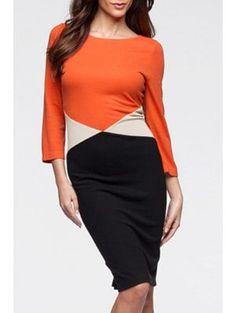 Color Block Round Collar 3/4 Sleeves Bodycon Dress - Black L
