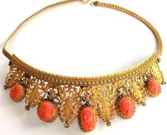 ANTIQUE FRENCH 12K GF Gilt Coral Cameo Necklace Tiara 1800 s Georgian Victorian