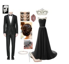 """Phantom of the Opera Prom"" by ivoryvixen ❤ liked on Polyvore featuring Givenchy, Christian Louboutin, Lime Crime, Blue Nile and Masquerade"