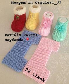 Yapmak işleyenler için harika ve pratik bir model👏👏👏 . A great and practical model for those who do. I sift # # Göznur of… Baby Booties Knitting Pattern, Crochet Baby Shoes, Crochet Baby Booties, Baby Knitting Patterns, Baby Patterns, Free Knitting, Crochet Patterns, Baby Sandals, Knitted Slippers